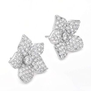 kate spade Jewelry - KATE SPADE • Silver Blooming Pavé Crystal Earrings